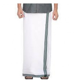 Chendamangalam Black Border Cotton Dhoti For Men By Kuriappilly Handloom Weavres