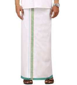 Chendamangalam Sea Green & Golden Zari Border Dhoti By Kuriappilly Handloom Weavres