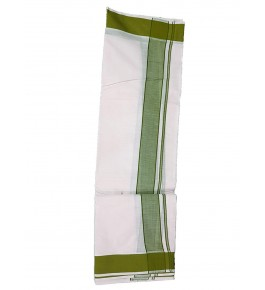 Chandamangalam White & Green Border Dhoti By Kuriappilly Handloom Weavres