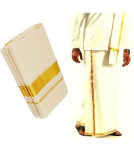 Chendamangalam Golden Zari Border Cotton Dhoti By Kuriappilly Handloom Weavres