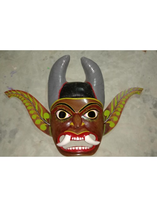 Traditional Devil Hand Crafted Gomira Wooden Mask of Kushmandi for Home Decor