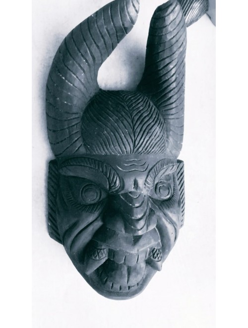 Traditional Black Coloured Crafted Gomira Wooden Mask of Kushmandi Devil Faced for Home Decor