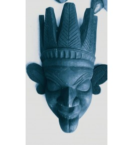 Black Coloured Crafted Gomira Wooden Mask of Kushmandi Open Mouth Devil Faced for Home Decor