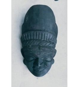 Black Coloured Crafted Gomira Wooden Mask of Kushmandi Simple Goddess Faced for Home Decor