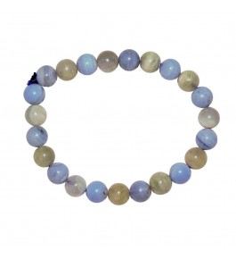Satyamani Natural Blue Lace Agate & Moonstone Bead Bracelet
