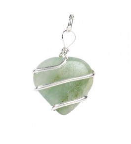 Satyamani Green Aventurine Wire Wrapped Heart Energy Crystal Pendant