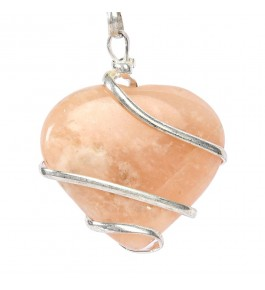 Satyamani Peach Moonstone Wire Wrapped Heart Energy Crystal Pendant