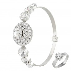 Satyamani Austrian Crystal Studded Bracelet & Ring Combo For Women