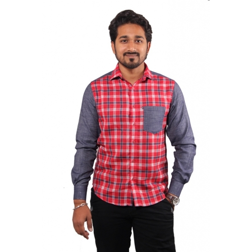 Favio Men's Checkered Cotton Casual Shirt