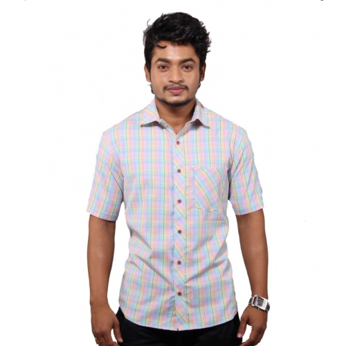 Favio Micro-check Casual Cotton Half Sleeve Men's Shirt