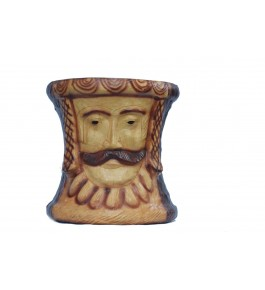 Indore Leather Toy of Men Face Sculpture Stool