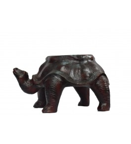 Leather Toy Of Indore Black Tortoise Shape Stool By Shareef Arts
