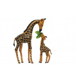 Indore Leather Toy of  Giraffe & his Baby Sculpture