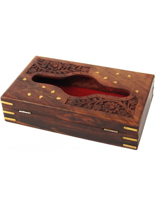 Handcrafted Saharanpur Wooden Tissue Box
