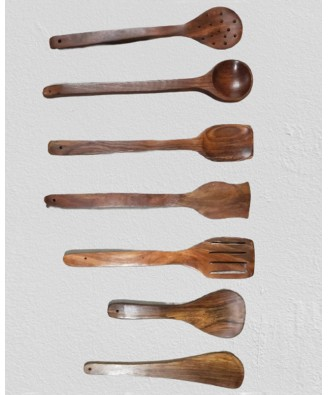Handmade Saharanpur Wooden Serving And Cooking Spoon (Set of 7)