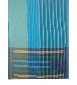Beautiful Blue Green Colour  Tope Teni Ilkal Saree with Border for Women