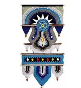 Blue Color Design Tapestry Handcrafted Solapur Wall Hanging