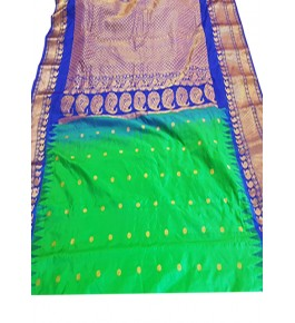 Sparkling Pure Silk Handcrafted Gadwal Saree Combination of Green & Blue for Women