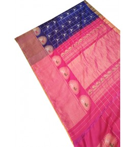 Beautiful Colour Combination of Pink & Blue Handcrafted Pure Silk Gadwal Saree for Women