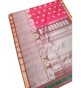 Pure Silk Handcrafted Gadwal Saree with Heavy Border in Red Color for Women