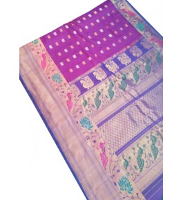 Pure Silk Handcrafted Gadwal Saree with Heavy Border in Violet Color for Women