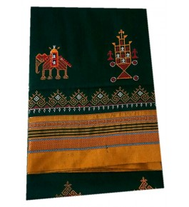 Beautiful Embroidery on Ilkal Saree  in Blue Color with Attached Blouse for Women