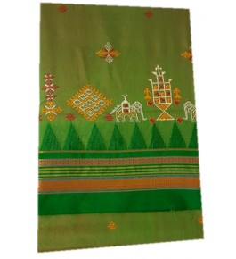 Beautiful Embroidery on Ilkal Saree with Attached Blouse for Women