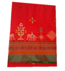Beautiful Embroidery on Ilkal Saree in Red Orange color with Attached Blouse for Women