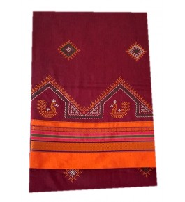 Beautiful Embroidery on Ilkal Saree in Maroon Color with Attached Blouse for Women