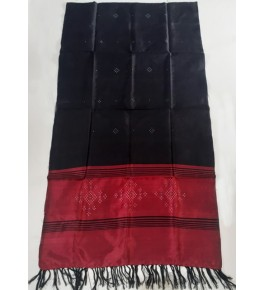 Embellish Handwoven Beautiful Black Colour With Red Border Tangaliya Silk Stone Work Shawl For Winter Wear