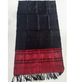 Embellish Handwoven Black Colour With Red Border Tangaliya Silk Stone Work Shawl For Winter Wear