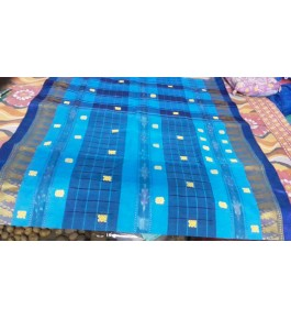Traditional Handloom Dhaniakhali Blue Mix Colour Saree For Women
