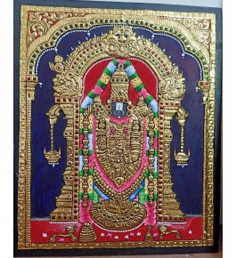 Traditional Handmade Gorgeous Thanjavur Painting Of Lord Balaji For Wall Decoration