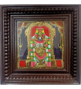 Traditional Handmade Gorgeous Thanjavur Painting Of God Balaji For Wall Decoration