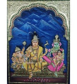 Delightful Handmade Gorgeous Thanjavur Painting Of Lord Shiva Family For Wall Decoration