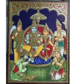 Traditional Handmade Gorgeous Thanjavur Painting Of God Gothandaramar For Wall Decoration