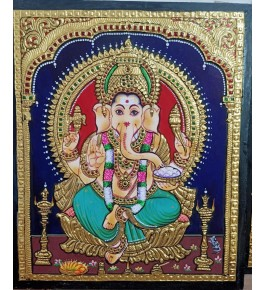 Traditional Handmade Gorgeous Thanjavur Painting Of Lord Ganesha For Wall Decoration