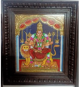 Traditional Handmade Gorgeous Thanjavur Painting Of Goddess Durga Devi For Wall Decoration