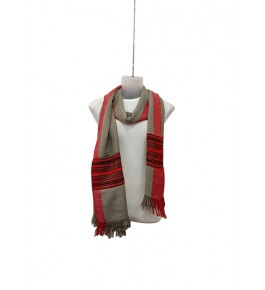 Elegant Handloom Brown Colour With Red Pattern Warming Kullu Shawl Of Himachal Pradesh
