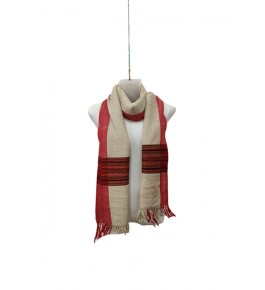 Authentic Handloom Warming Kullu Shawl Of Himachal Pradesh In Beige Colour With Red Pattern