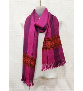 Authentic Handloom Warming Kullu Shawl Of Himachal Pradesh In Pink Colour