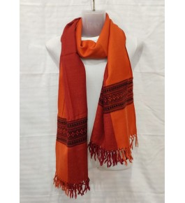 Authentic Handloom Orange Colour Warming Kullu Shawl Of Himachal Pradesh