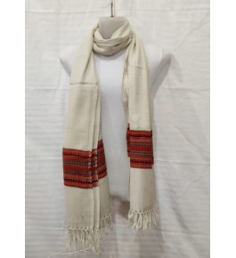 Authentic Handloom Off White Colour Warming Kullu Shawl Of Himachal Pradesh