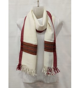 Authentic Handloom White Colour Red Pattern Warming Kullu Shawl Of Himachal Pradesh