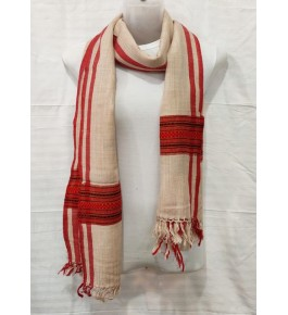 Authentic Handloom Warming Kullu Shawl Of Himachal Pradesh In Cream Colour With Red Pattern