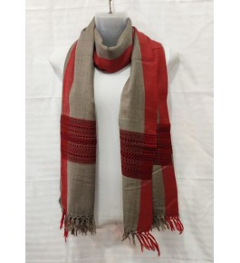 Authentic Handloom Warming Kullu Shawl Of Himachal Pradesh In Brown Colour With Red Pattern