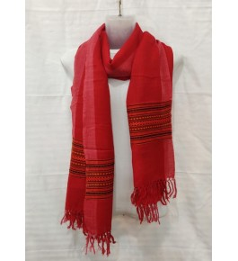 Authentic Handloom Warming Kullu Shawl Of Himachal Pradesh In Red Colour
