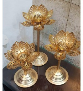 Authentic Floral Design Of Moradabad Metal Handicraft Diya Stand Set Of 3 For Diwali Decoration
