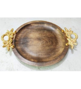 Authentic Handmade Moradabad Metal Handicraft Round Shape Design Wooden Tray For Decoration Purpose