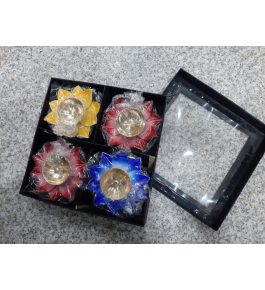 Authentic Floral Design Of Moradabad Metal Handicraft Diya Stand (Set Of 4)For Diwali Decoration